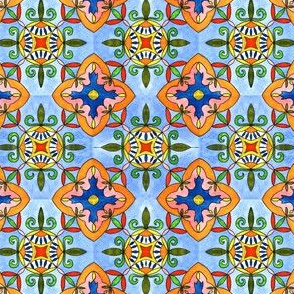 Spanish Tiles. Watercolor painting