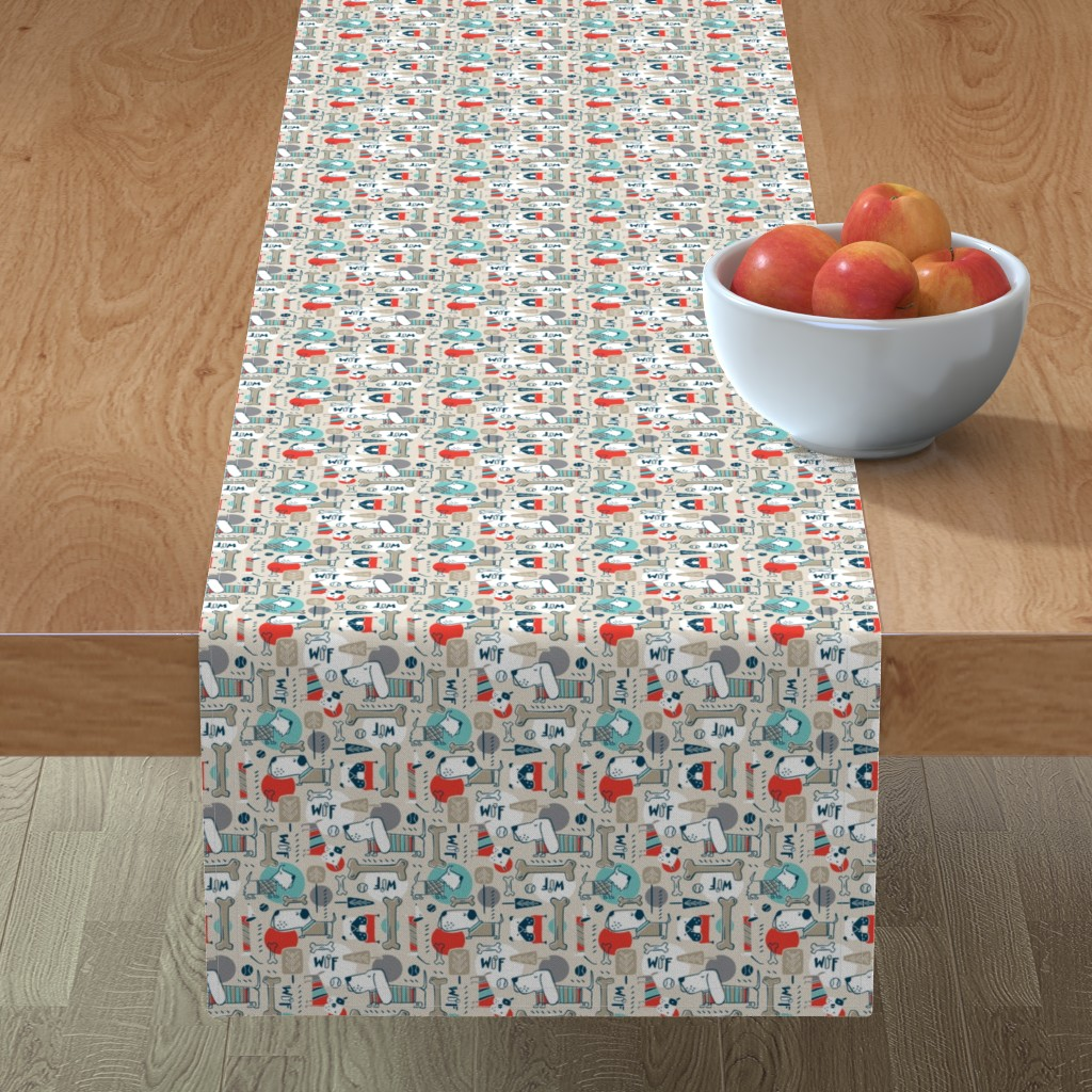 Minorca Table Runner featuring Dog Park - Tan Retro Smaller Scale by heatherdutton