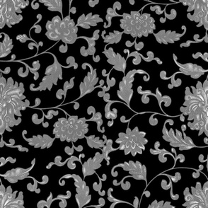 Keeping Mum Damask _ Silver on Black _ Peacoquette Designs _ Copyright 2015 f