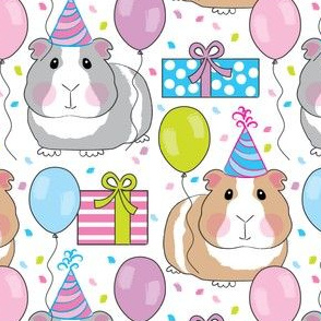 birthday party guinea pigs on white