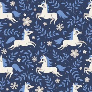 Floral Ponies (Dark Blue)