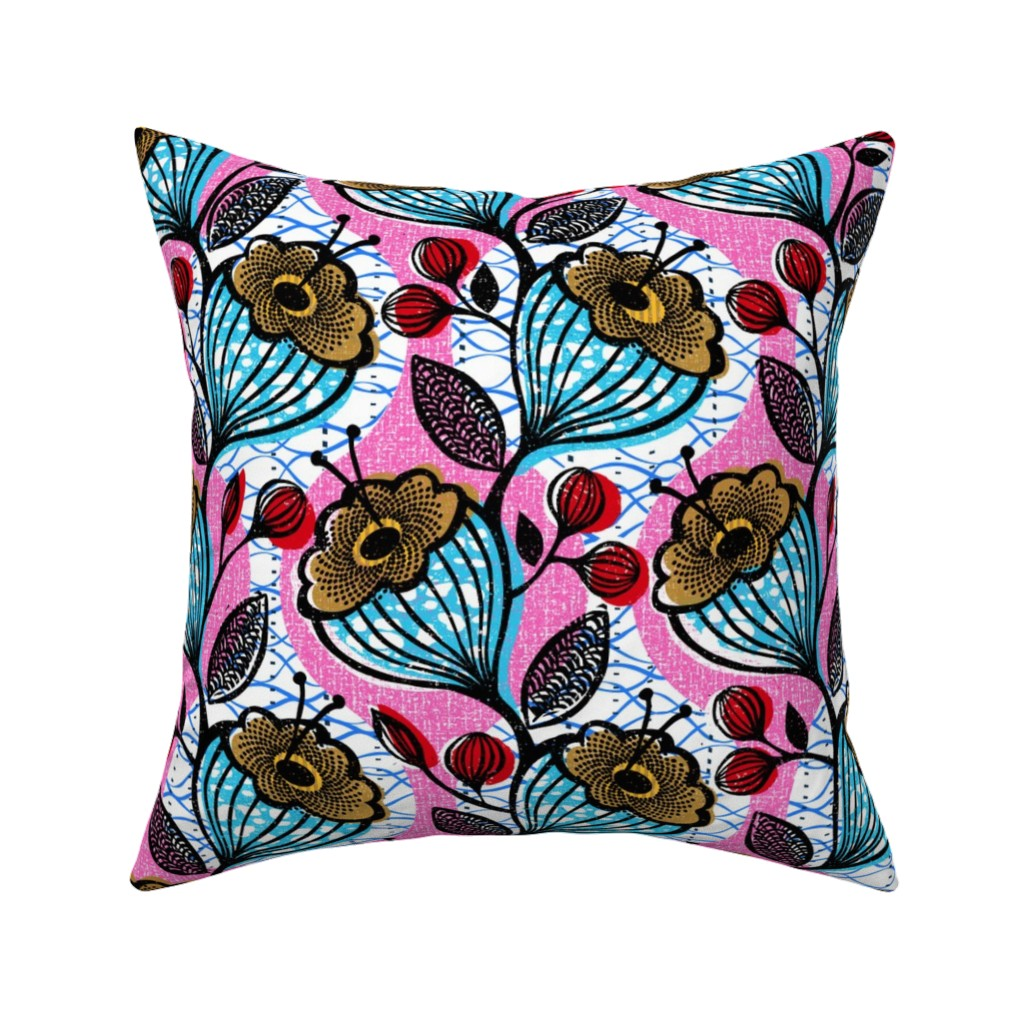 Catalan Throw Pillow featuring Mahiri-African-floral by ottomanbrim