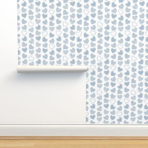 Wallpaper Valentines Joy White Background Blue Grey Hearts
