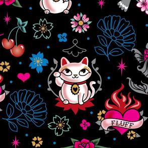 Lucky Cat Maneki Neko , Dragons and Koi fish-LARGE