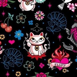 Lucky Cat Maneki Neko , Dragons and Koi fish-MEDIUM