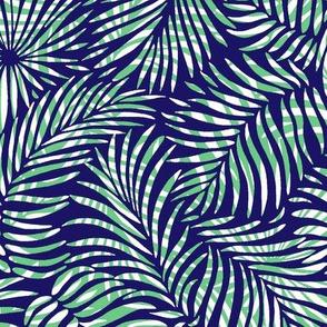 Palm Leaves - blue green white - tropical design
