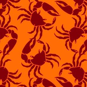crab orange on red