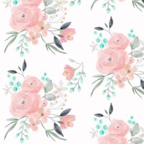 Secret Garden / White / Pastel floral flowers / blush pink aqua mint gray
