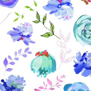 """Spring 2018 Painted Floral Collection BLUE 6"""""""