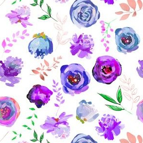 """Spring 2018 Painted Floral Collection PURPLE 6"""""""