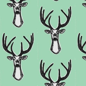 Mint green Sketchy Hipster Buck Stag Deer Antlers-ch-ch-ch-ch-ch-ch-ch-ch-ch