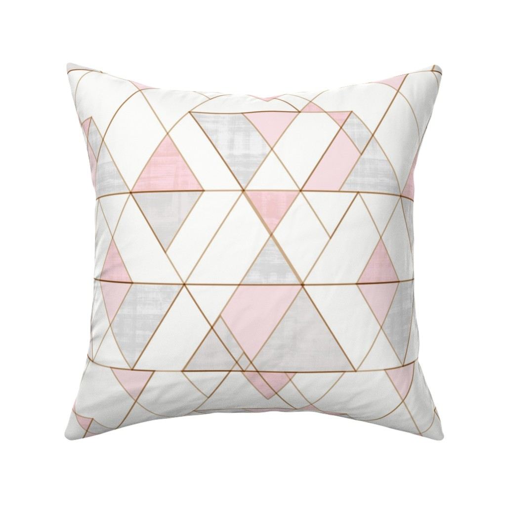 Catalan Throw Pillow featuring Mod Triangles Pink Gray by crystal_walen