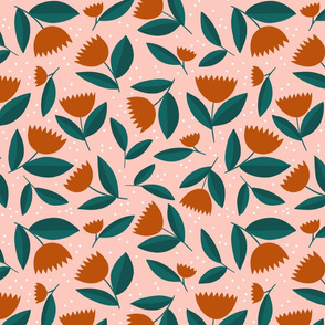 Flowers - Copper on pink