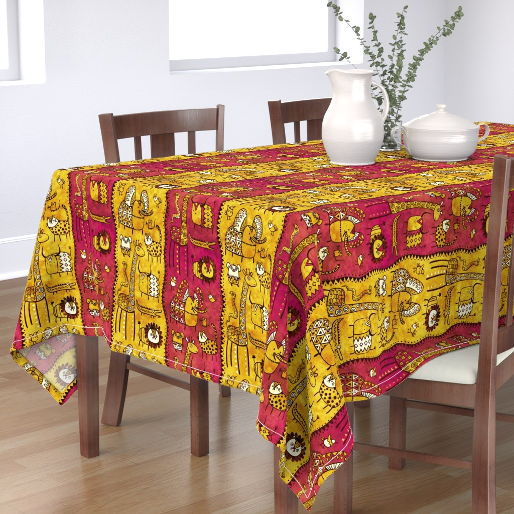 Bantam Rectangular Tablecloth featuring Wild Bunch by monika_suska
