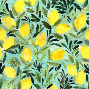 Lemons on teal blue Watercolor