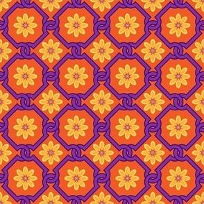 Spanish Floral Tile Inspired Orange Yellow