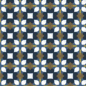 Retro Floral Spanish Tiles M+M Navy by Friztin