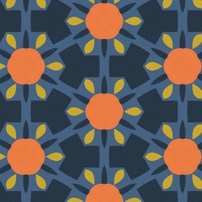 Retro Geo Spanish Tiles M+M Navy by Friztin