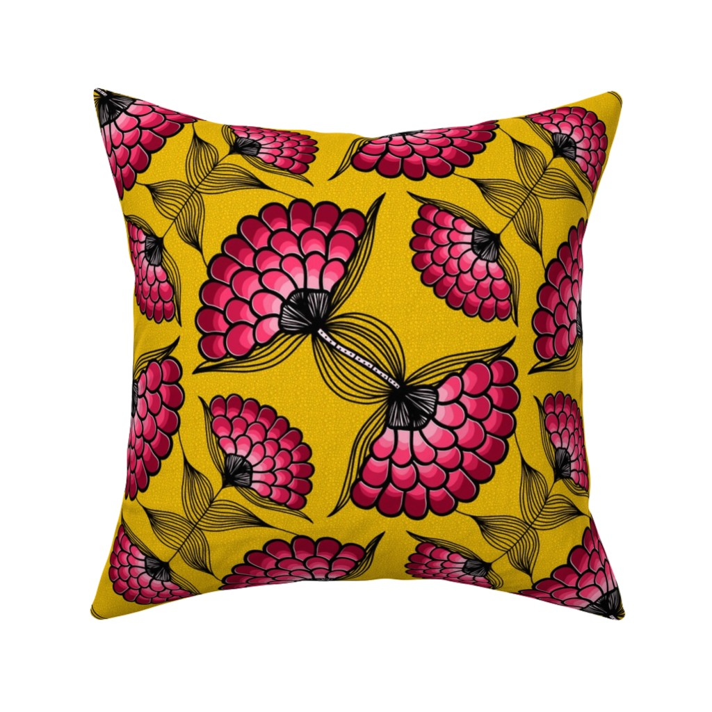 Catalan Throw Pillow featuring African Art Cloth by thewellingtonboot