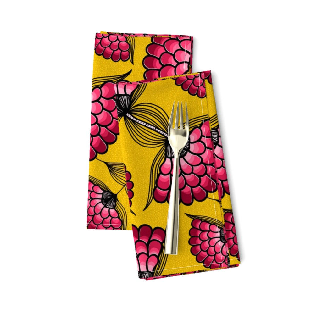 Amarela Dinner Napkins featuring African Art Cloth by thewellingtonboot