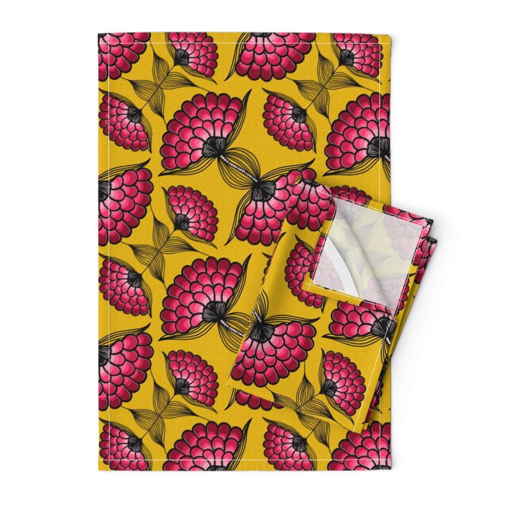 Orpington Tea Towels featuring African Art Cloth by thewellingtonboot
