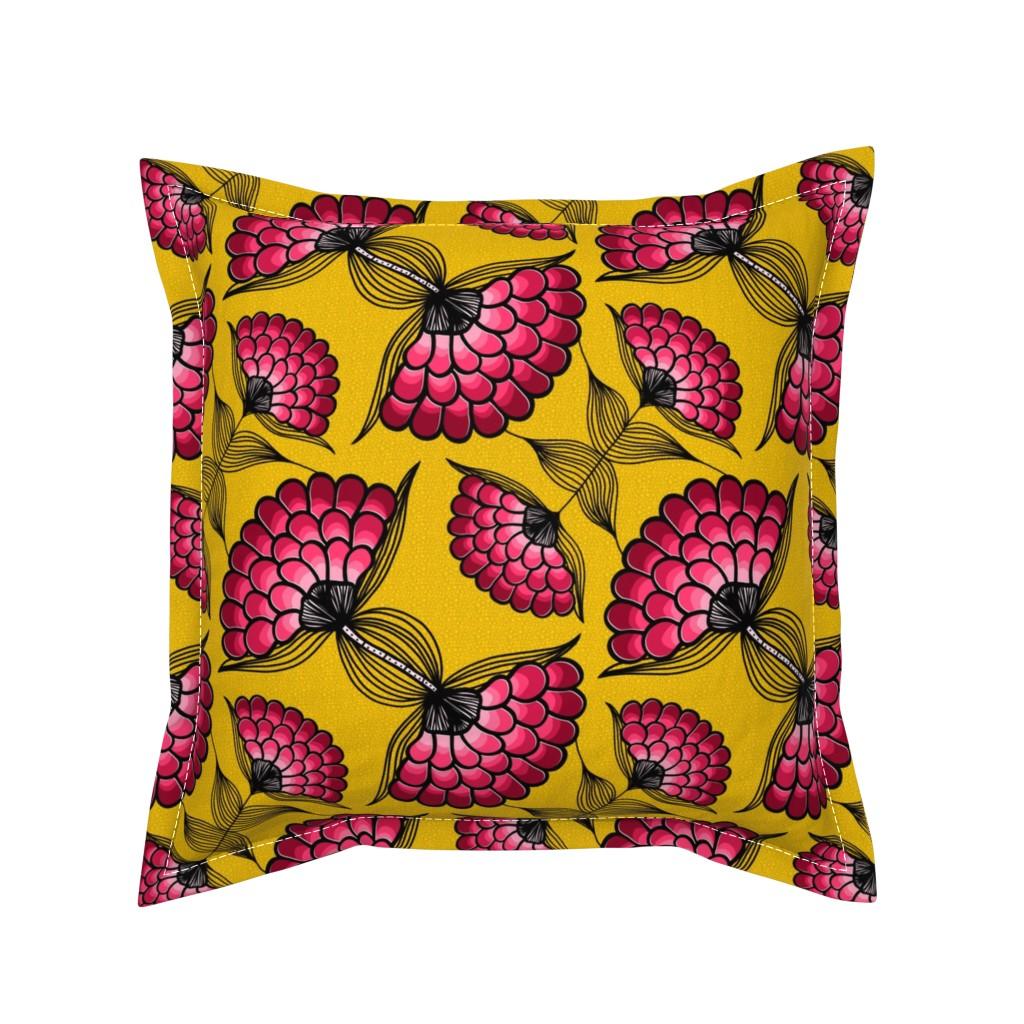 Serama Throw Pillow featuring African Art Cloth by thewellingtonboot
