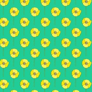 Yellow and Teal Poppies