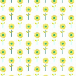 Cute Yellow and Teal Flowers
