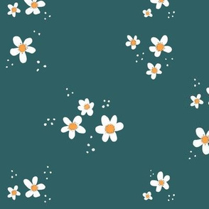 Catherine's Flowers / floral daisies  daisy / teal yellow white