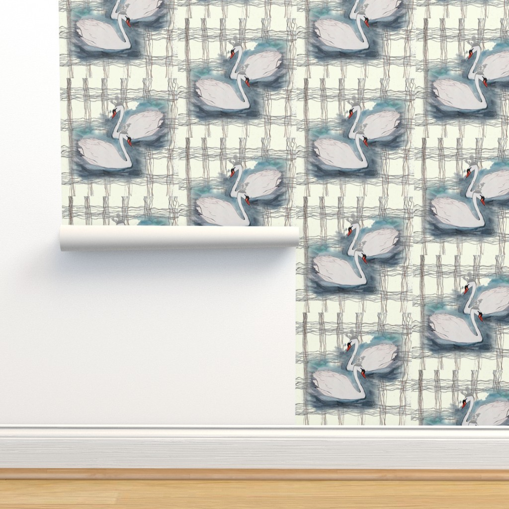 Isobar Durable Wallpaper featuring SWAN LAKE PLAID  EGGSHELL OVERLAP by hunnellekari