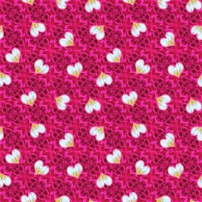 Bright Rose Pink Dahlia Texture with Small Hearts