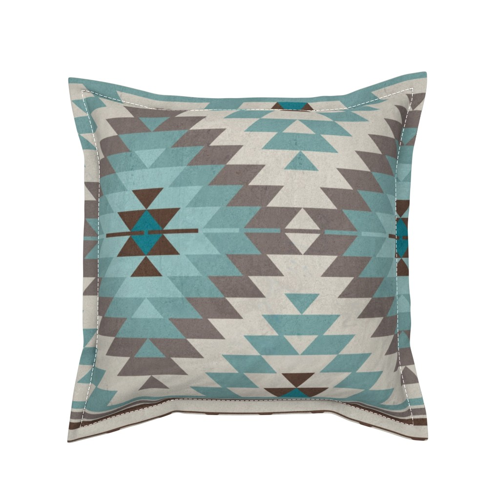 Serama Throw Pillow featuring KILIM in beige blue brown by delinda_graphic_studio