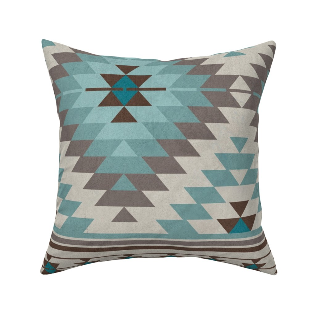 Catalan Throw Pillow featuring KILIM in beige blue brown by delinda_graphic_studio