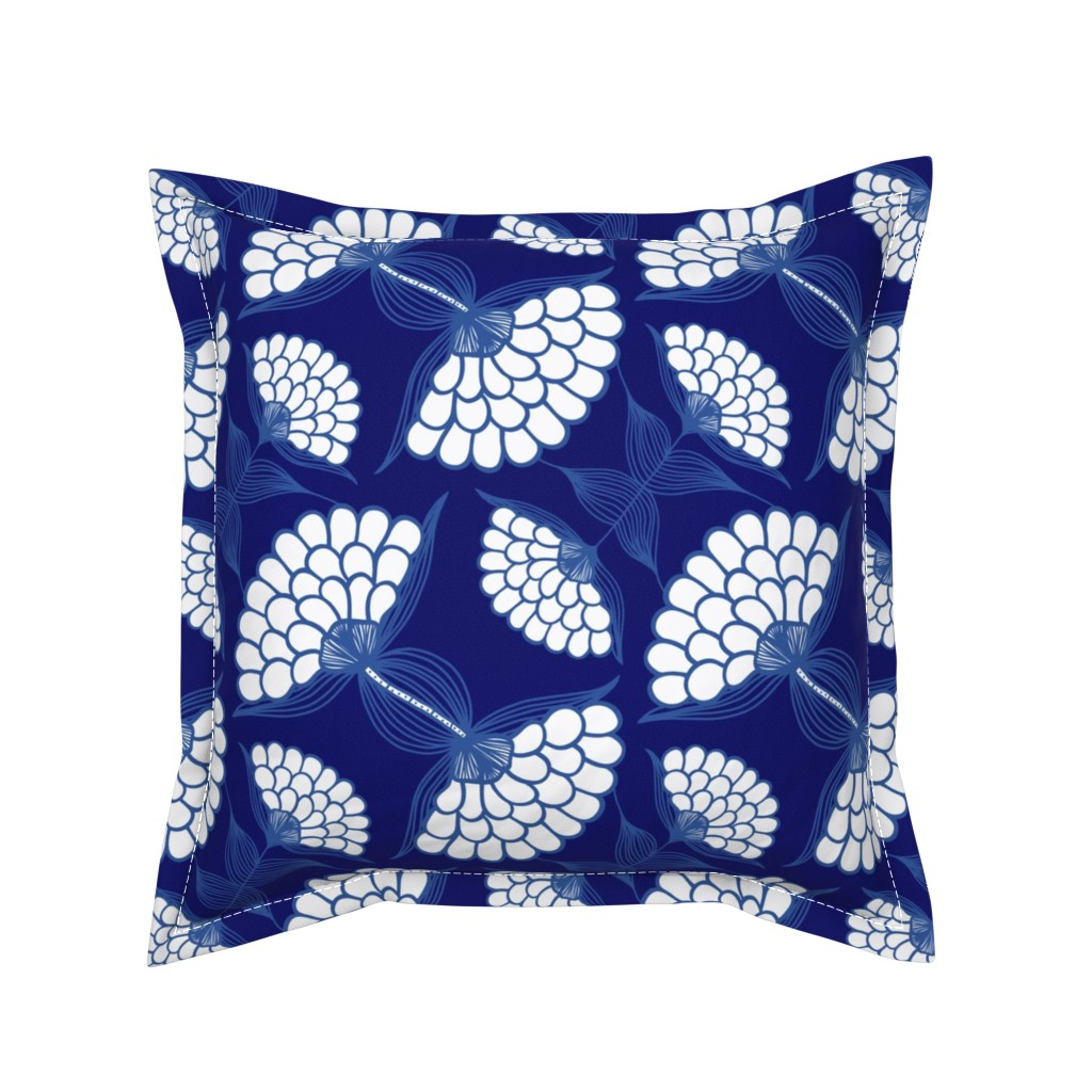 Serama Throw Pillow featuring Bold Floral Print in Navy by thewellingtonboot