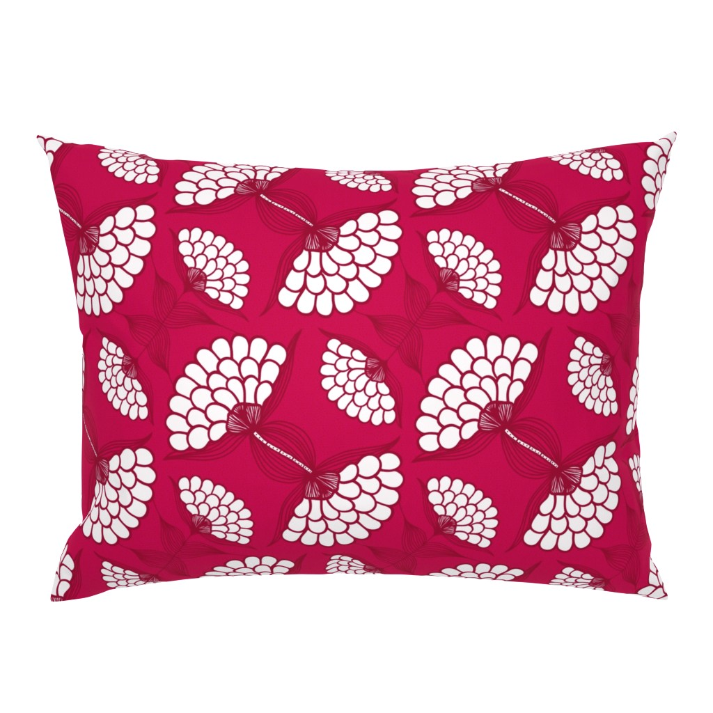 Campine Pillow Sham featuring Bold Floral Print in Magenta by thewellingtonboot