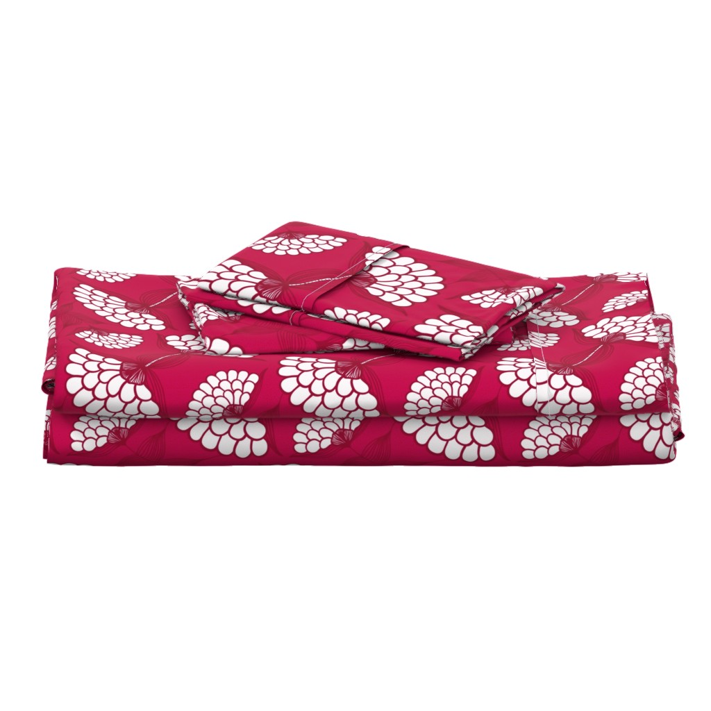 Langshan Full Bed Set featuring Bold Floral Print in Magenta by thewellingtonboot
