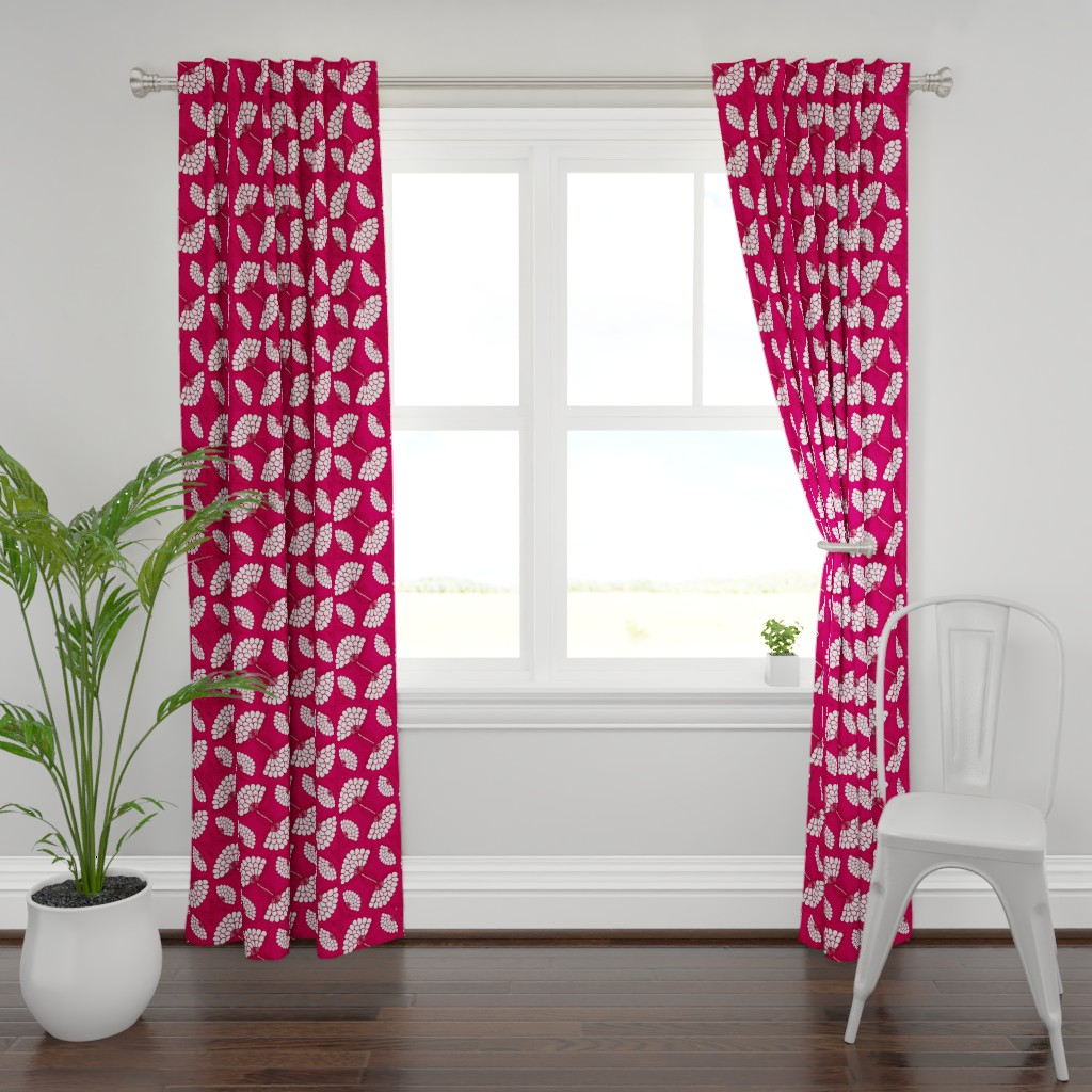 Plymouth Curtain Panel featuring Bold Floral Print in Magenta by thewellingtonboot