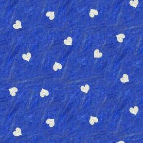 Tiny Hydrangea Texture Hearts over Blue