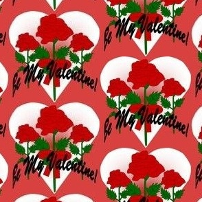 Valentines Hearts Red and White Roses and Hearts Fabric #6