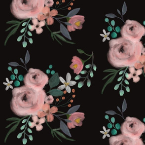 Secret Garden / Midnight / floral flowers / black blush pink emerald