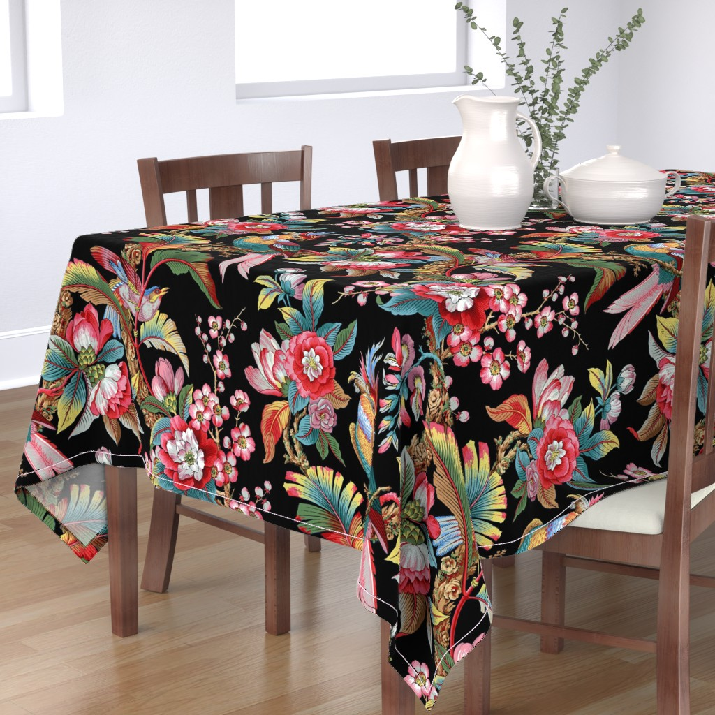 Bantam Rectangular Tablecloth featuring Edwardian Parrot ~ Bright on Black    by peacoquettedesigns