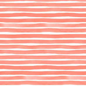 Watercolor Stripes M+M Coral by Friztin