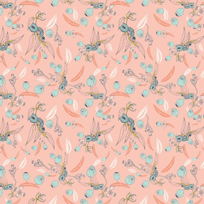 Summer Eucalyptus on pink background