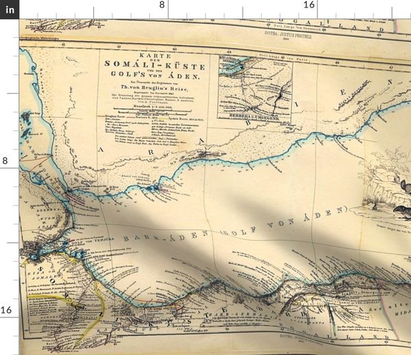 Fabric by the Yard 1860 Gulf of Aden Map (27