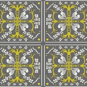 Dogwood Spanish Tile - Gray and Mustard Yellow - Medium Scale
