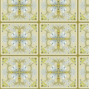 Dogwood Spanish Tile - Beige, Blue and White Scheme - Medium Scale