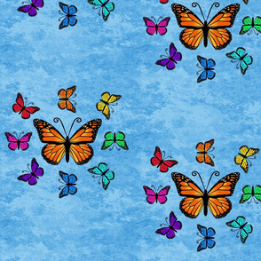 Butterfly Color Palette - Lt. Blue, Butterfly Color Wheel on Lt. Blue Granite