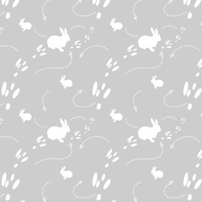 Hopping Bunny Rabbit  and Bird Tracks in the Snow, Winter, Gray and White, Forest Animals, Snowy Day