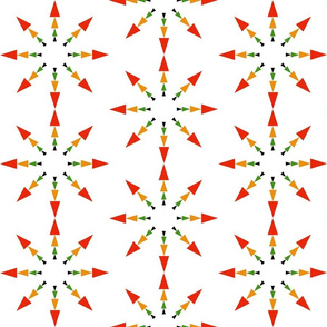 Star Triangles on White, Arts and Crafts, Christmas Snowflake, Red Arrows