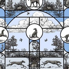 Winter Blue Stained Glass Medium, Toile Greyhounds